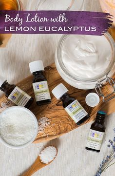 Mix up a protecting body lotion featuring lavender and lemon eucalyptus essential oils using this simple recipe.