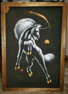 *White Unicorn In Space*   Framed Original Painting On Black Velvet   27 In