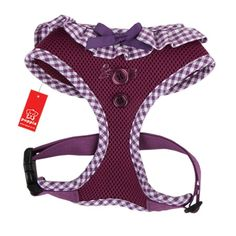 A fun twist on the original, best-selling Puppia Soft Harness, this Puppia Purple Vivien Dog Harness is adorned with gingham ruffles, a ribbon bow and button accents for a whimsical, new look for your southern bell! The Puppia Vivien Harness features an a