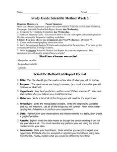 Experimental Design Worksheet Answer Key | Science materials ...