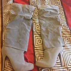 Faux grey cuff boots  Super cute grey faux suede boots w/built in platform w/heel! Shoes Heeled Boots