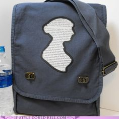 """Sorry, this Jane Austen Bag only supports leather-bound first editions. Your Kindle may burst into flame upon insertion."" <--Heehee! What an awesome bag..."