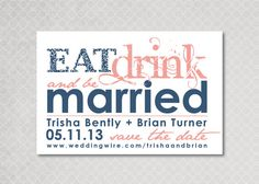 Eat Drink and be Married Save the Date Magnet by PinchOfSpice, $15.00