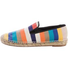 Pre-owned C?line Striped Espadrille Flats (15,575 INR) ❤ liked on Polyvore featuring shoes, flats, orange, espadrilles shoes, striped espadrilles, round toe flats, celine flats and orange canvas shoes