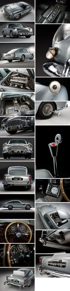 (James Bond) - Aston Martin 1964 Nowadays, cars are fitted with some of the most futuristic technology you can think of. Whether it is GPS tracking, music synchronization, or touch screen gadgetry; But James Bond has. Concept Cars, James Bond Auto, Supercars, Citroen Ds, Cars Vintage, Aston Martin Db5, Car Gadgets, Car Car, Hot Cars