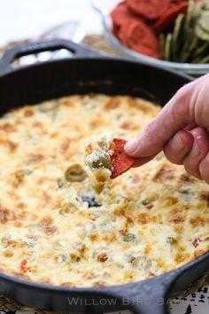 Warm Cheesy Olive Dip