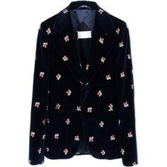 Maison Margiela Blazer ($1,015) ❤ liked on Polyvore featuring outerwear, jackets, blazers, dark blue, velvet blazer, floral print blazer, blazer jacket, dark blue blazer and floral blazer