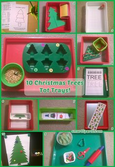 Christmas trees set the backdrop for a fun week of Christmas tot school activities! Our Christmas Trees tot trays include a craft and a stamping activity!