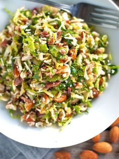 Bacon and Brussel Sprout Salad! - Oh wow;  this is both semi-healthy AND decadent!  Thanks, Kim Mango.