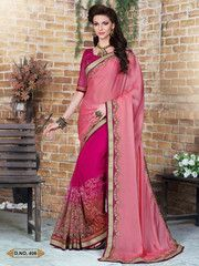 Ftrendy Old rose, shaded fuchsia & beige Embroidered Faux satin chiffon & net Saree