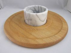 Lipper Intl Round Oak Chip DIP Serving Board with Marble Bowl | eBay