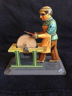 Vintage 1930s Steam Engine Wood Cutter Toy German Made Tin Litho Movable