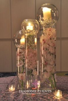Candle Centerpieces | Wedding Centerpieces With Tall Candles | Wedding Party Centerpieces