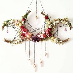 Pagan crafts - Flower crystal crescent moon dream catcher inspired hanging decoration > boho nature decor for the home Boho Dekor, Diy And Crafts, Arts And Crafts, Creative Crafts, Witch Decor, Pagan Decor, Spiritual Decor, Pagan Altar, Witch Aesthetic