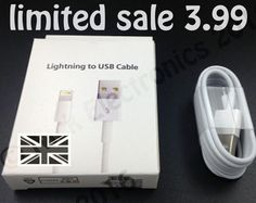 Genuine Apple Lightning Charger USB Cable iPhone 6 Plus iPad Mini - 1 meter, UK