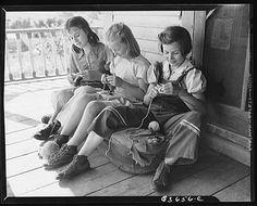 Albert Gagnon's daughters knitting (Office of War, 1942) http://judyweightman.wordpress.com/2012/10/09/more-knitting-history-world-war-ii/