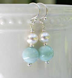 Natural Larimar and Swarovski crystal pearl drop earrings with sterling silver shepherd hook ear wires Pearl Jewelry, Crystal Jewelry, Wire Jewelry, Jewelry Crafts, Beaded Jewelry, Jewelery, Earrings Handmade, Handmade Jewelry, Diy Schmuck