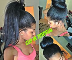 High Ponytail And Bun with Clip Ins - No Lumps [Video] - http://community.blackhairinformation.com/video-gallery/weaves-and-wigs-videos/high-ponytail-bun-clip-ins-no-lumps-video/