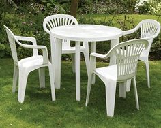 Cheap plastic table and chairs available at houseandhomeshop.co.uk.