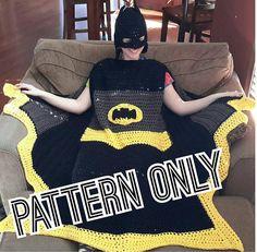 Wearable Super Hero Blanket crochet pattern Bat Black