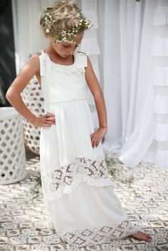 Poppy Dress Ivory Bohemian Flower Girl  Flowergirls Flower girl dresses