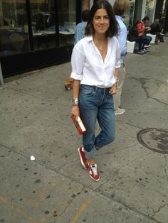 Skinny H&M camisa branca oversized Puma vermelho Leandra Medine, Denim Fashion, Fashion Outfits, Fashion Weeks, London Fashion, Sneakers Outfit Men, Mein Style, Looks Chic, Mode Inspiration