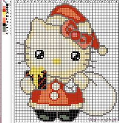 Santa Hello Kitty perler bead pattern