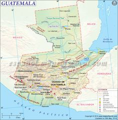 Map of Guatemala Tikal, Spanish Projects, Learn Another Language, Lake Titicaca, World Thinking Day, Site Map, Country Maps, Panama Canal, Pantanal