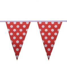 Red & White Polka Dot Bunting Red & White Polka Dot Bunting. 100%25 polyester, 10m length with 24 flags each measuring 20cm x 30cm