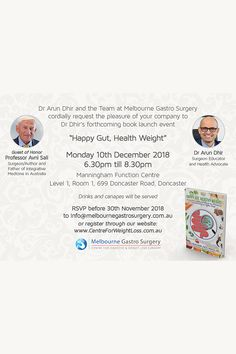 Invitation to Book Launch Event - Centre for Weight Loss Gut Microbiome, Book Launch, Canapes, Youre Invited, Healthy Weight, Metabolism, The Book, Health And Wellness, Insight