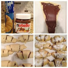 Nutella Croissants Who doesn't get the urge for a pastry? Chocolate croissants look intimidating to make but this quick and easy croissant recipe will make you appear to be a pro and leave a smile … Easy Desserts, Delicious Desserts, Dessert Recipes, Yummy Food, Bon Dessert, Dessert Drinks, Nutella Croissant, Chocolate Croissants, Croissant Recipe
