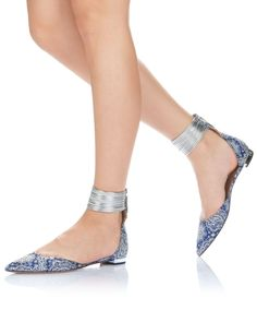 Our lavish Hello Lover ankle-strap flats add polish to any outfit. Crafted in Italy from smooth damask fabric in mod blue with lush and deli...