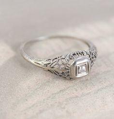 Leafy Edwardian Filigree Ring, $595