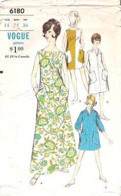 Vintage 1960's Vogue# 6180 Dress or Beach Coverup Sewing Pattern, offered by GrandmaMadeWithLove on Etsy