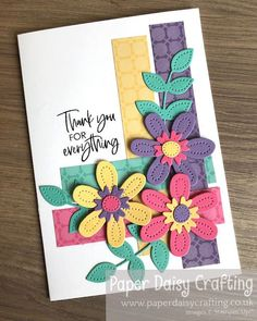 Paper Daisy Crafting: Pierced Blooms Thank You card for Facebook Live with Come Crafting with Jill & Gez Thank You Gifts, Thank You Cards, Paper Daisy, Mini Album Tutorial, For Facebook, Mini Albums, Stuff To Do, Stampin Up, Give It To Me