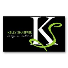 Contemporary Monogram Designer Lime profile Cards Business Card Templates