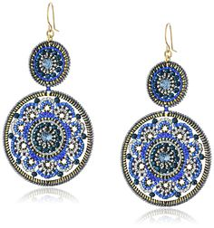 Amazon.com: Miguel Ases Large Circle Swarovski Sapphire Double Drop Dangle Hoop Earrings: Jewelry