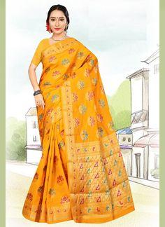 Weaving Art Silk Yellow Casual Saree Latest Designer Sarees, Latest Sarees, Salwar Kameez, Kurti, Celebrity Gowns, Yellow Art, Casual Saree, Buy Sarees Online, Weaving Art