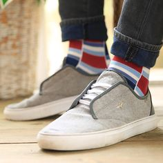 53adf25bc03 Apple Red Blue Stacked Men s Dress Socks