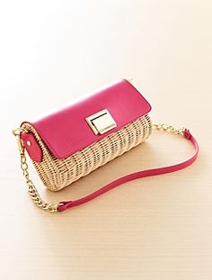 Wicker Shoulder Clutch Like this in black.