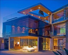 Architecture, Terrific Glass House With Awesome Red Outdoor Sofa And Fancy Concrete Floor Exposed: Amazing Luxury Glass House Design Ideas Luxury Homes Dream Houses, Dream Homes, Dream Mansion, Mansion Houses, Bungalows, House Goals, My Dream Home, Dream Big, Interior Architecture