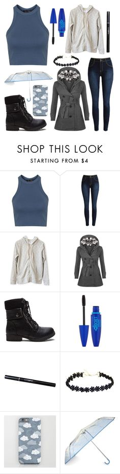 """""""Rain Day"""" by bluedaisywhale ❤ liked on Polyvore featuring Topshop, WearAll and Maybelline"""