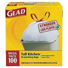 100-Pk of Glad Kitchen Trash Bags : $9.99 (reg. $14.99)  http://www.mybargainbuddy.com/100-pk-of-glad-kitchen-trash-bags-9-99-free-sh