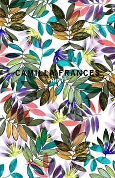 Camilla Frances is a individual print creator, leading a team that combines unique, personal design sensibilities with traditional hand drawing techniques to craft an ever-growing world of prints. Art Floral, Motif Floral, Floral Prints, Art Prints, Tropical Prints, Textile Pattern Design, Surface Pattern Design, Textile Patterns, Print Patterns