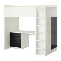 STUVA ロフトベッドフレーム デスク&収納付き(引き出し×3/扉×2) - ホワイト/ブラック - IKEA