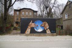 Street art in Tartu. Mural. Stencibility.