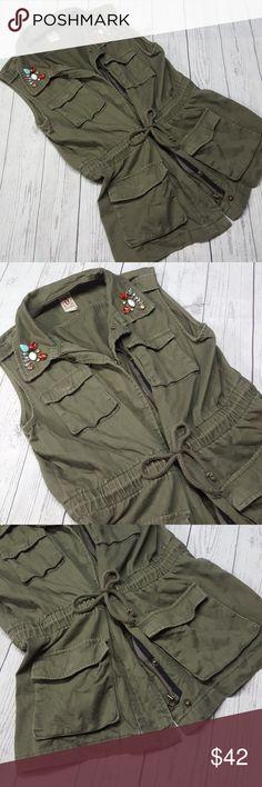 Army Green Bedazzled Cargo Adventure Vest Faded look, great condition. Decree Jackets & Coats Vests
