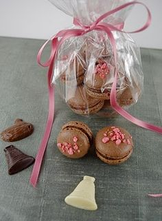 Chocoloate Macarons with Pink Praline Chocolate Filling
