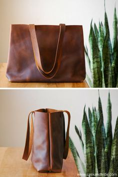 timeless brown leather tote. love the simplicity!