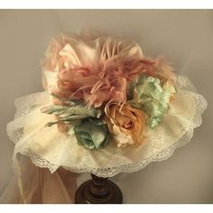 Lace Crowns, Victorian Hats, Pirate Hats, Fascinator Hats, Fascinators, Ivory Roses, Edwardian Fashion, Edwardian Style, Green Accents